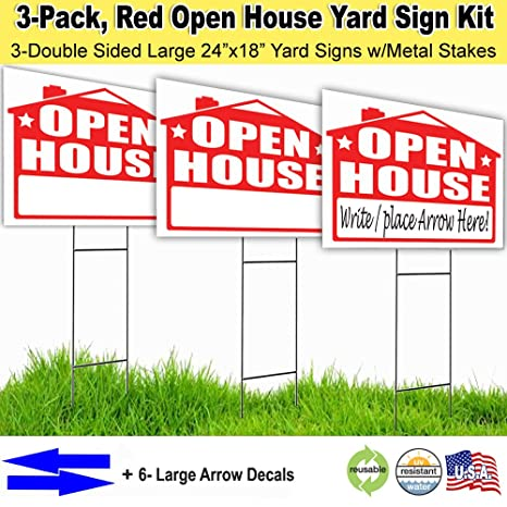 Amazon.com: Visibility Signage Open House Lawn Sign Kit with Giant ...