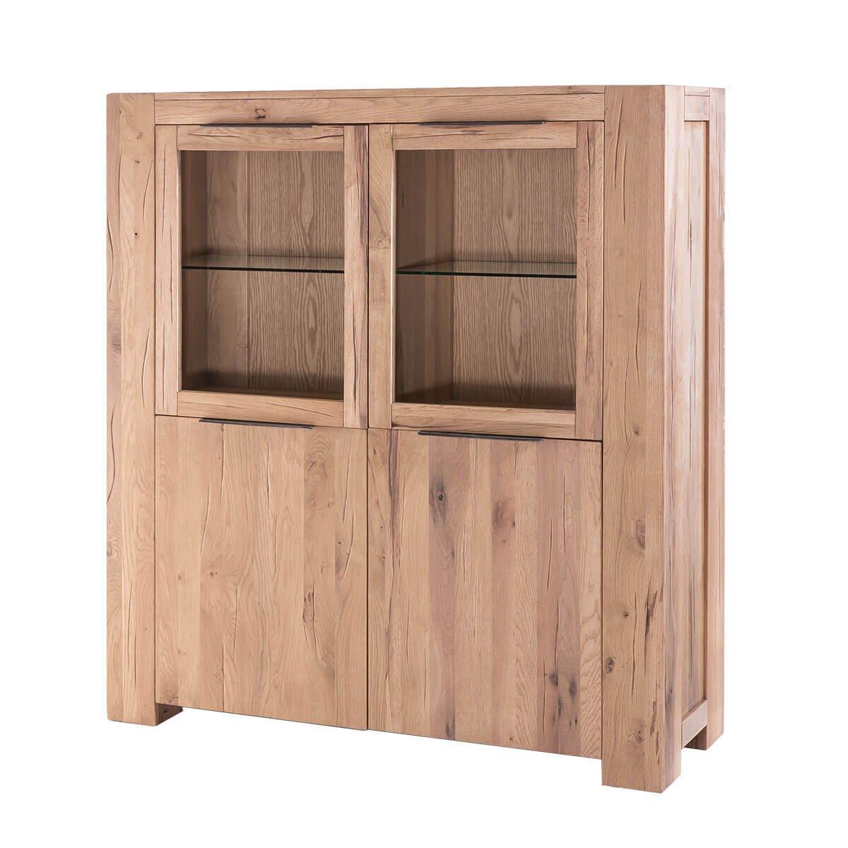 Highboard Anrichte Vitrine Vitrineschrank Granby, Massivholz Holz Eiche massiv Balkeneiche Natural, Breite 140 cm, Tiefe 48 cm, Höhe 160 cm