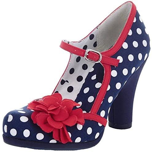 055d5cb2fc6ccc Ruby Shoo Womens Hannah Navy Spots Red Blue High Heel Court Shoes ...