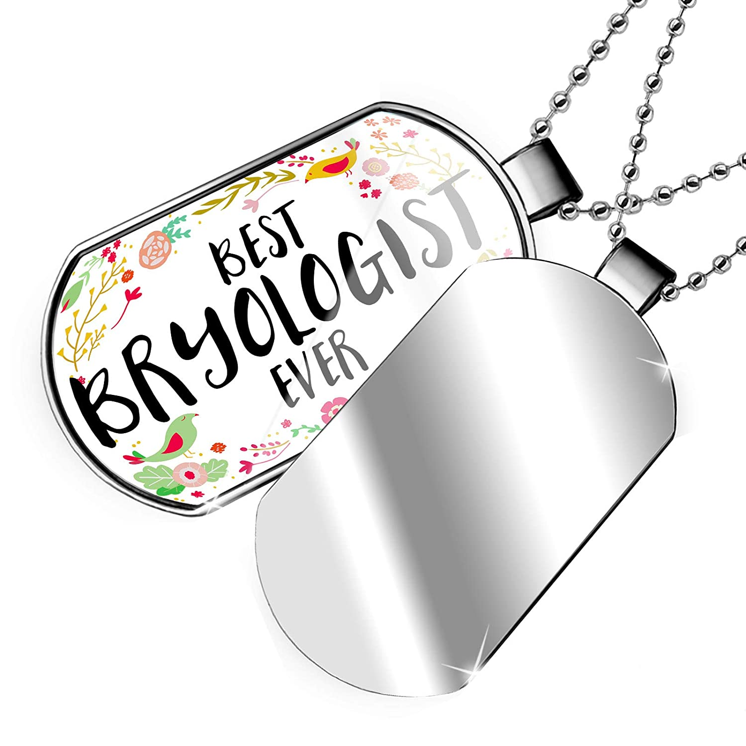 NEONBLOND Personalized Name Engraved Happy Floral Border Bryologist Dogtag Necklace
