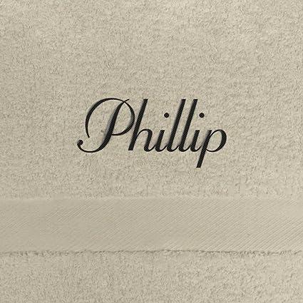 Toalla de baño con nombres Phillip bordados, 70 x 140 cm, beige, extra