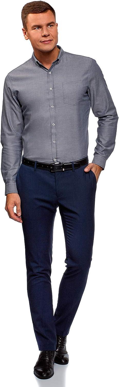 oodji Ultra Mens Basic Slim-Fit Cotton Shirt