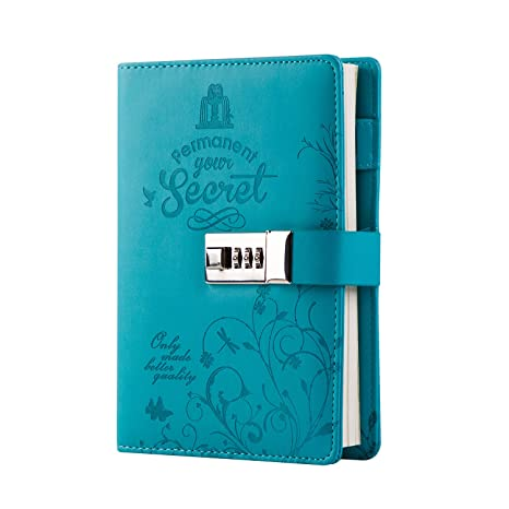 Lock Diary Leather Locking Journal Writing Notebook Vintage Lock Planner Agenda Personal Diary Blue