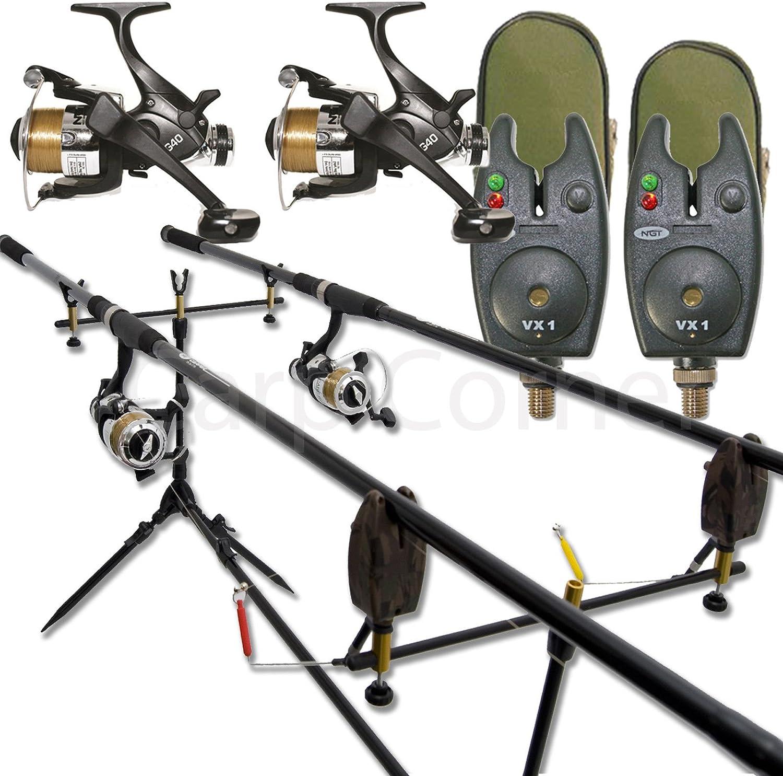 New Carp Fishing Starter Set 2 Rods 2 Reels 2 Alarms Rod Pod Batteries