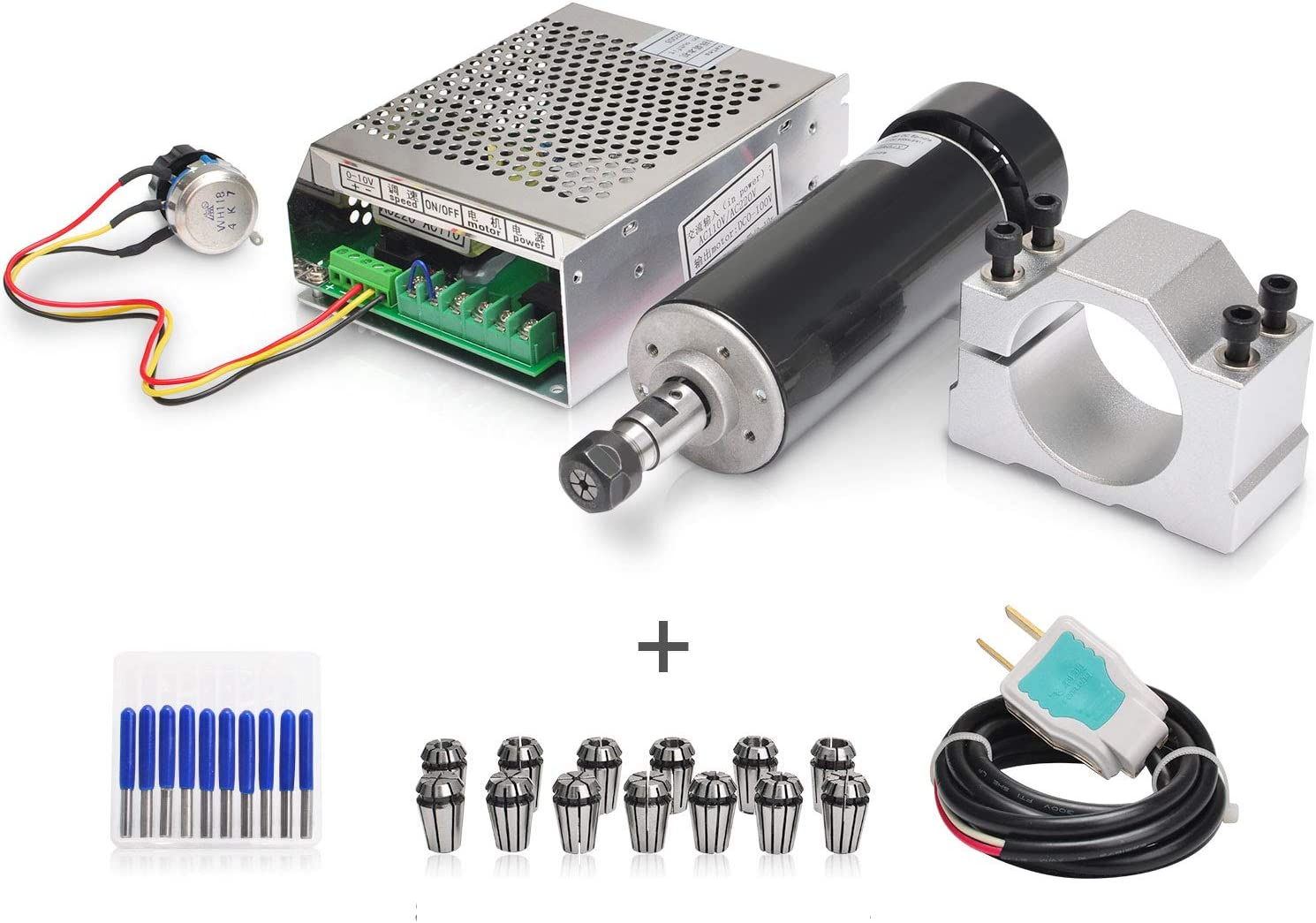 Daedalus CNC Spindle kit 500W, Air Cooled 0.5kw Milling Motor 110V Spindle Speed MACH3 Power Converter 52mm Clamp 13pcs ER11 Collet for Profession DIY Engraving