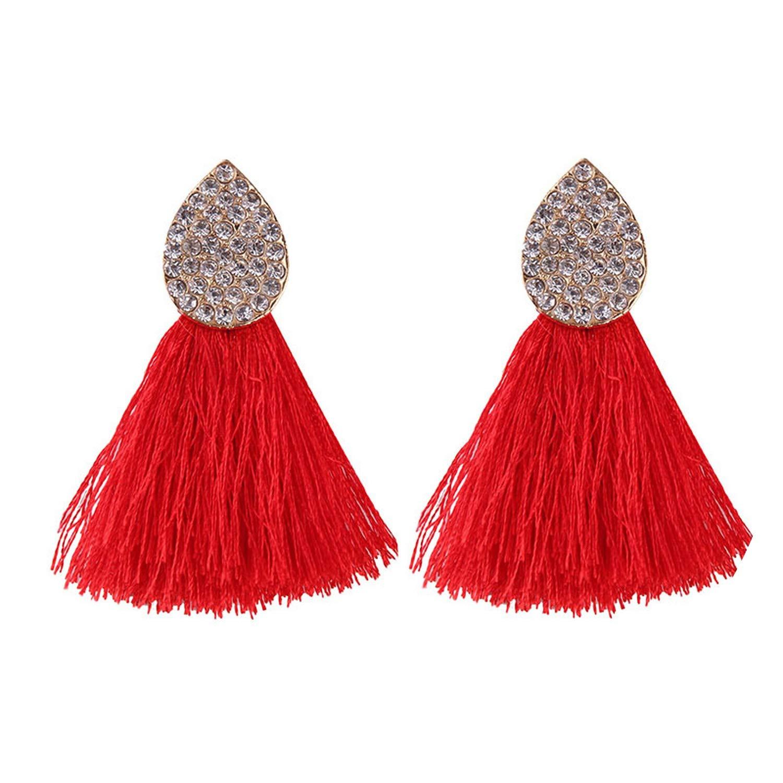 Europe and America studded tassel earrings crystal gemstone tassel earrings accessories Pink djfhjksa
