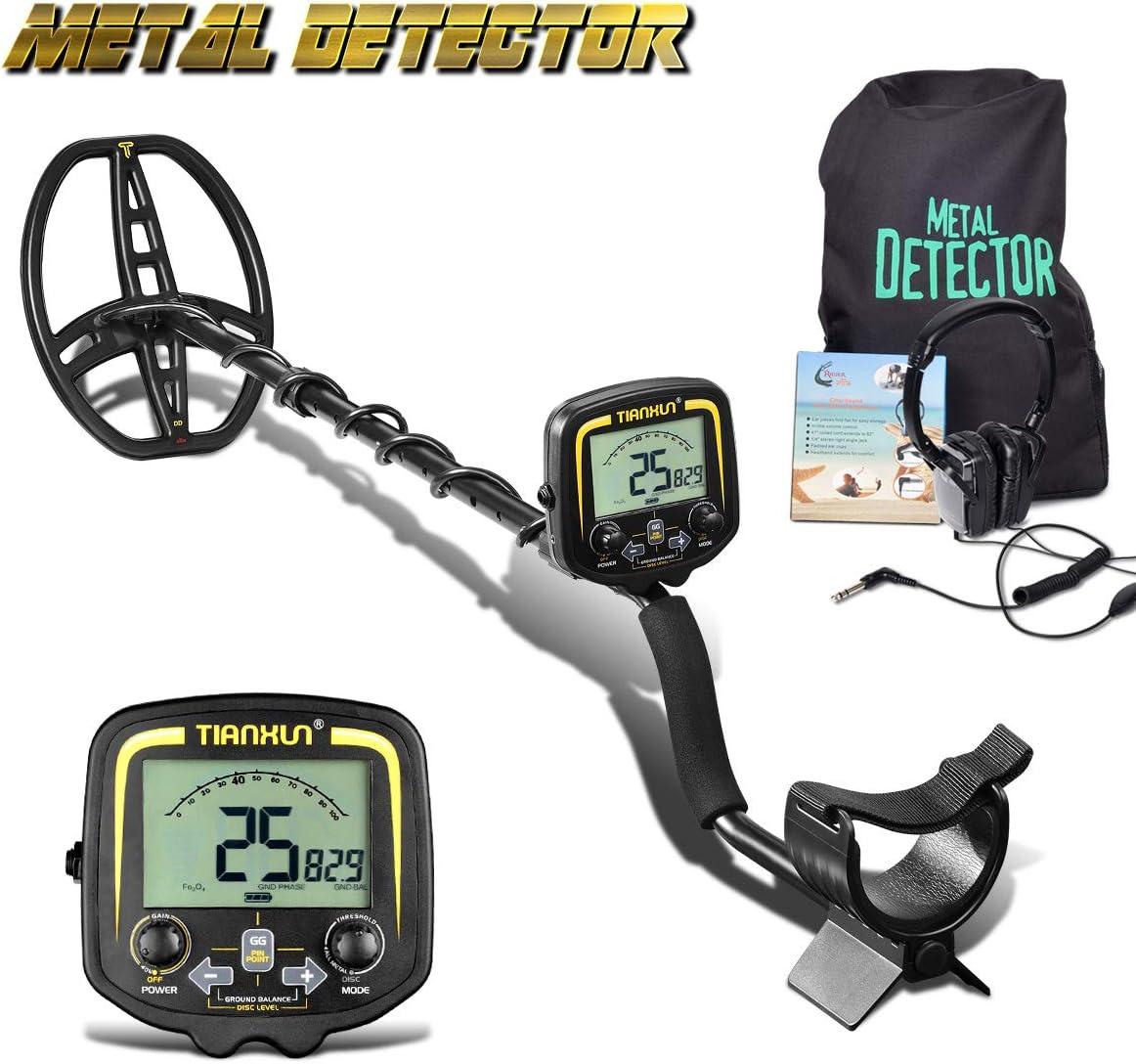 HOOMYA Detector de Metales subterráneo Profesional con Pantalla LCD y Auricular, Profundidad de 2,5 m de escaneado para Sonda Exterior Metal-TX850