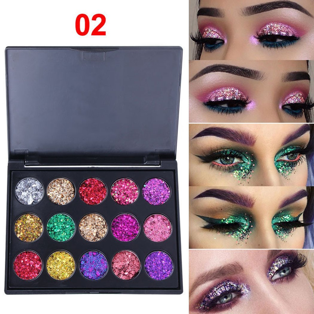 Kigin 15 Shades Eyeshadow Palette Shiny and Pigmented Mineral Pressed Powder Glitter Eyes Long Stay On Make Up Eye Shadow Shimmer Palettes