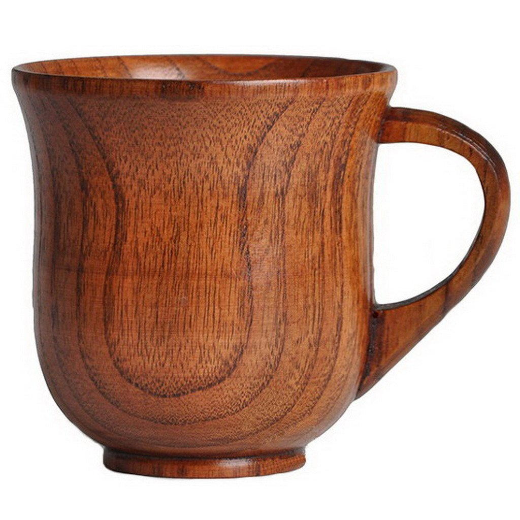 Gresorth Handcrafted Wood Tea Coffee Mugs Safe and Eco-friendly Cup Wooden Drinking Cups (A)