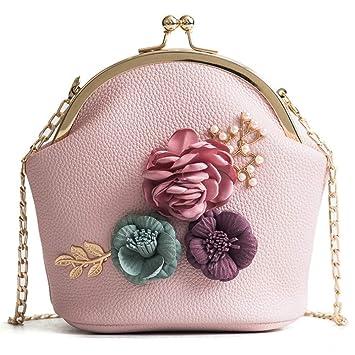 4d750a2c5b568 ZLULU Damen-Schultertaschen Damenhandtaschen Pu-Frauentasche Frische Blumen  Elegante Handschulterkette Diagonale Diagonale Kleine Quadratische