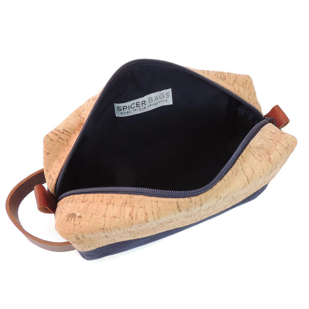 Toiletry Dopp Kit in Real Cork Fabric and Navy Canvas by Spicer Bags