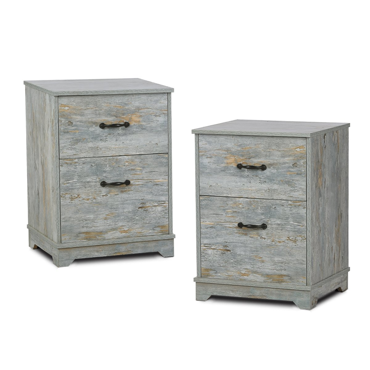 2 Drawer Wood Nightstand with Antique Metal Handle in OAK End Table by DEVAISE (Blue Oak-2 drawer(Set of 2))