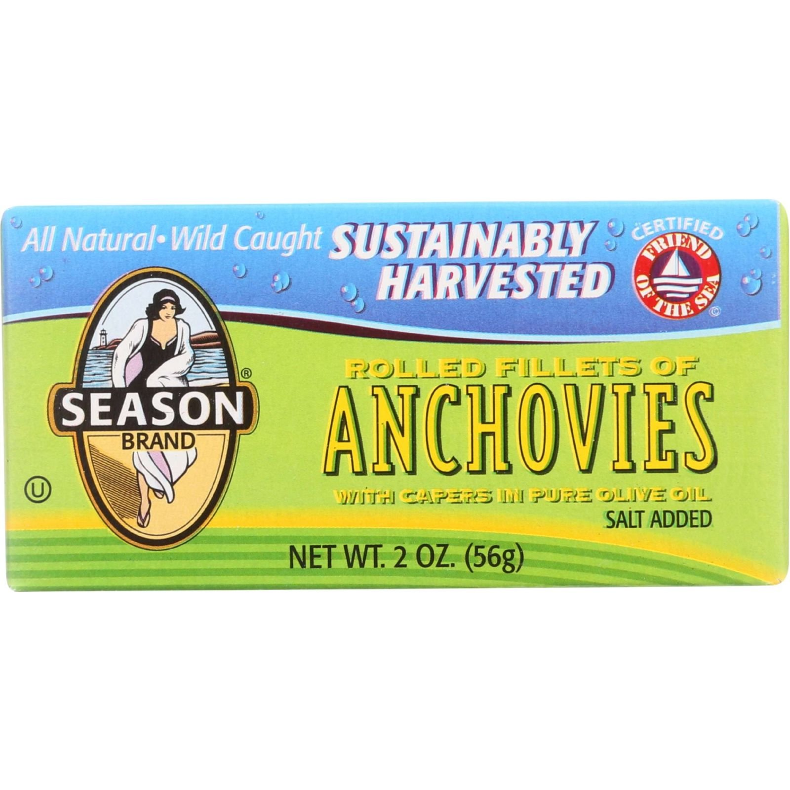 Season Brand Anchovies - Rolled Fillets - Salt Added - 2 oz - case of 25 - All Natural - Wild Caught