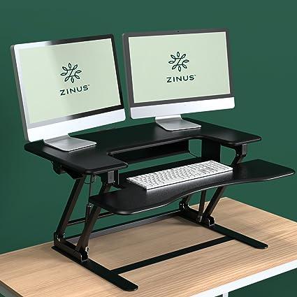 Zinus Smart Adjust Standing Double Desk/Adjustable Height Desktop  Workstation, Black