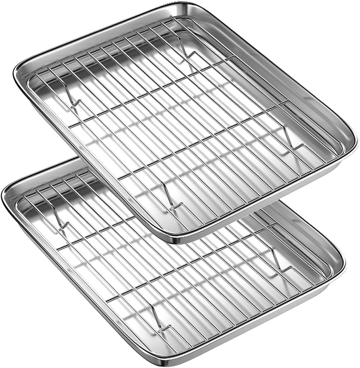 Toaster Oven Tray and Rack Set, BYkooc Small Stainless Steel Toaster Oven Pan with Rack,9 x 7 x 1 inch,Dishwasher Safe Oven Pan, Anti-rust, Sturdy & Heavy(2 Pans + 2 Racks)