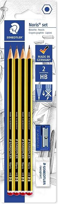 Staedtler Noris 120S1 BK4DST. Lápices de madera certificada. Blíster con 4 lapiceros, una goma de borrar y un sacapuntas.: Amazon.es: Oficina y papelería