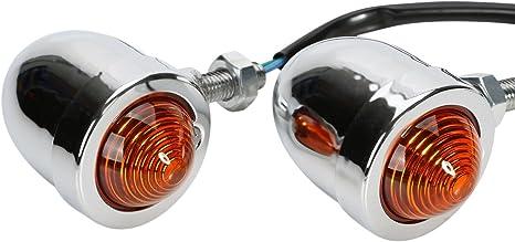 OSAN 2x UNIVERSAL Motorrad Mini Blinker Bernsteinlampen Bullet Typ Silber