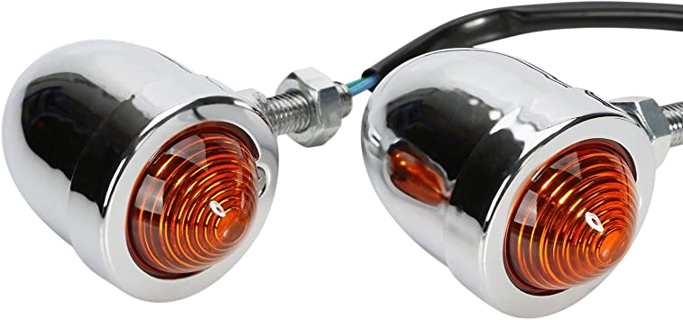 GOOFIT 12V Vintage Refit Amber Bullet Flashing Light Headlight Lamp Mini Motorcycle 10W Turn Signals Indicator Racer Motorbike Street Sports Bike