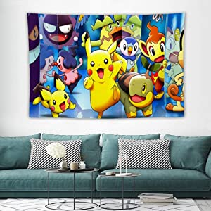 Tapestry Pikachu Pichu Turtwig Piplup Gengar,Charizard,Anime Wall Hanging Art for Bedroom Living Room College Dorm Home Decor Tapestries Christmas,60x40 inches…