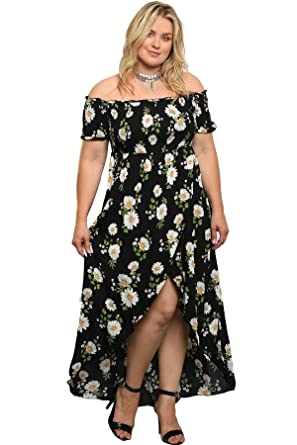 aadb636a19 Plus Size Floral Daisy Off The Shoulder High Low Womens Maxi Dress (2X)  Black