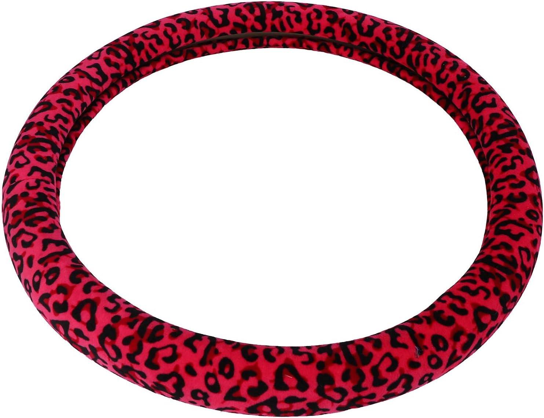 Rojo Fanuse Cubierta del Volante del Coche de Leopardo Felpa Antideslizante Funda de Volante con Estampado de Ajuste Universal Tres Piezas Felpa