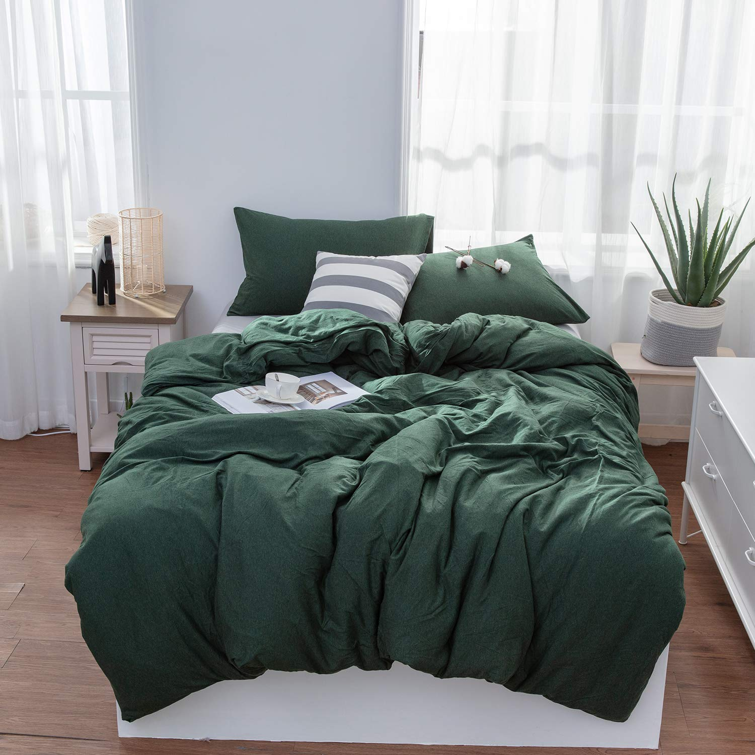 LIFETOWN Green Duvet Cover, Jersey Knit Cotton Duvet Cover Set 3 Pieces, Simple Solid Design, Super Soft and Easy Care (Full/Queen, Dark Green) by LIFETOWN (Image #1)