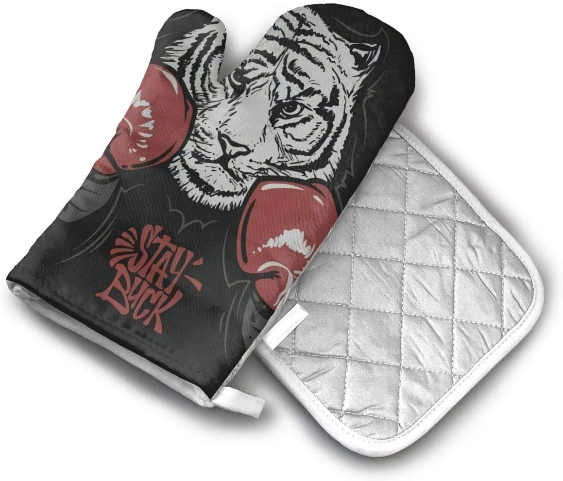 Tiger in Boxing Gloves Oven Mitts and Potholders (2-Piece Sets) - Extra Long Professional Heat Resistant Pot Holder & Baking Gloves - Food Safe