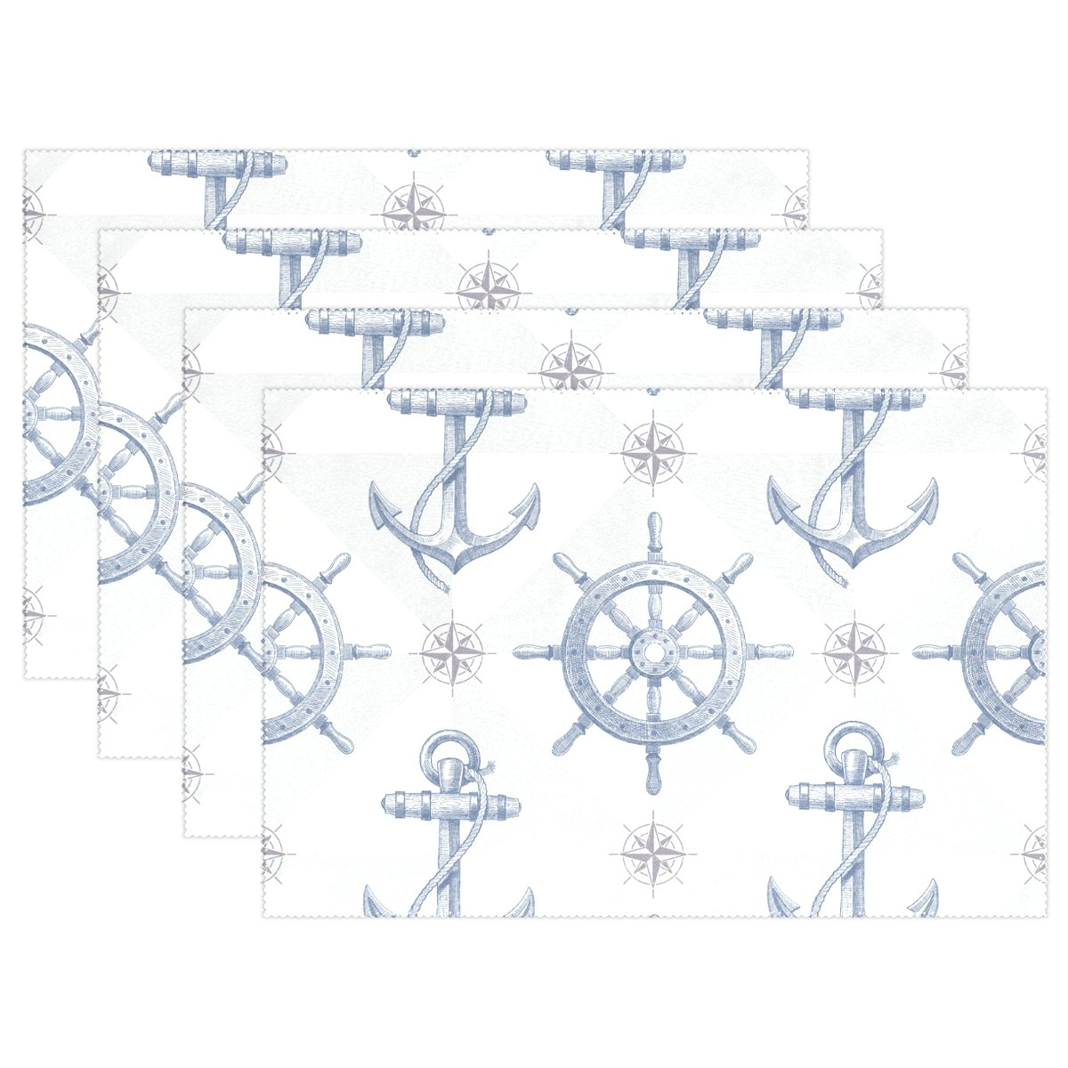 Nautical background with hand draw印刷、プレースマットalirea耐熱プレースマット汚れ防止滑り防止洗濯可能ポリエステルテーブルマット非スリップ洗濯可能プレースマット、12