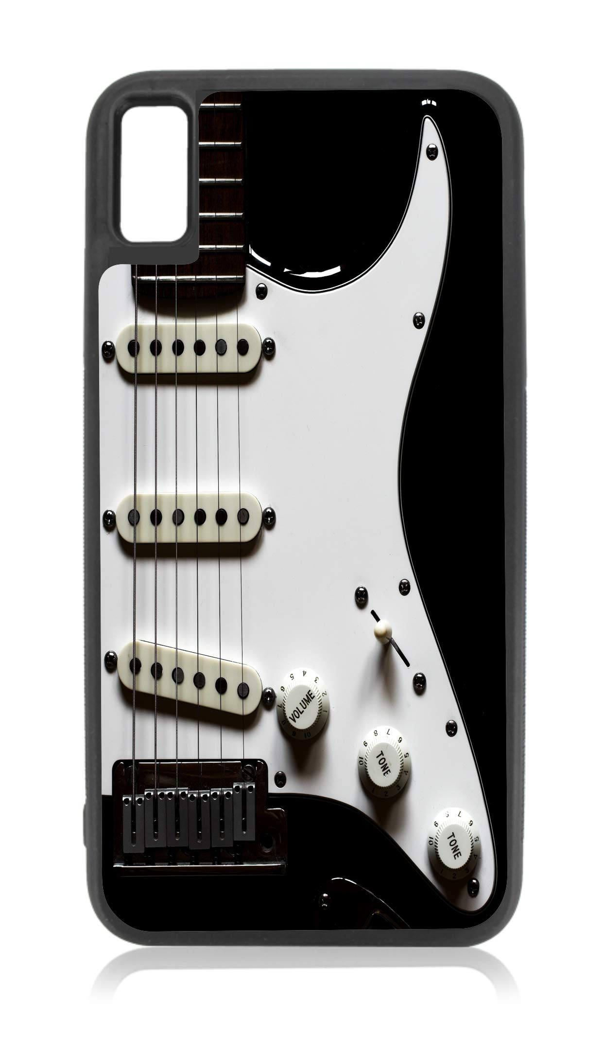 Acoustic Electric Guitar Print Design Black Rubber Case for iPhone XR - iPhone XR Phone Case - iPhone XR Accessories by Rosie Parker Inc.