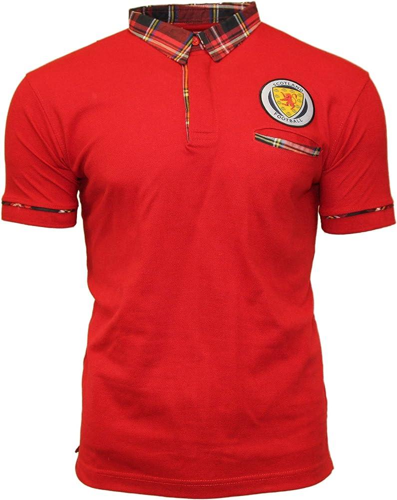 Heritage of Scotland Escocia Fútbol Polo - Rojo con Tartán Royal ...