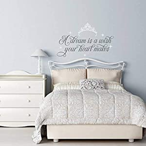 A Dream is A Wish Your Heart Makes Cinderella Wall Decal Fairy Wall Decal Cinderella Girls Room Decor Cinderella Quotes Wall Decals