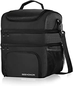 Insulated Lunch Bag, 18L Leakproof Reusable Large Capacity Bag with Adjustable Strap, Three Deck Lunch Box for Office Camping Hiking Outdoor Picnic Beach (Black, Large)