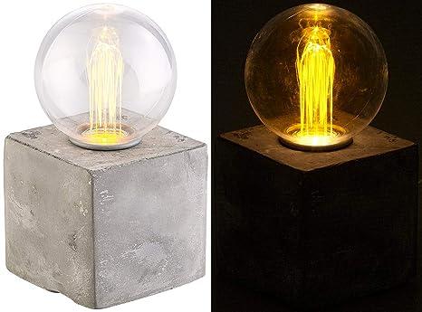 Lunartec Deko-Tischlampe: Deko-Tischleuchte mit LED und Beton-Sockel, USB- oder Batteriebetrieb (Lampe Beton)