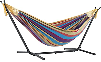 Amazon Com Vivere Double Cotton Hammock With Space Saving Steel Stand Tropical 450 Lb Capacity Premium Carry Bag Included Garden Outdoor
