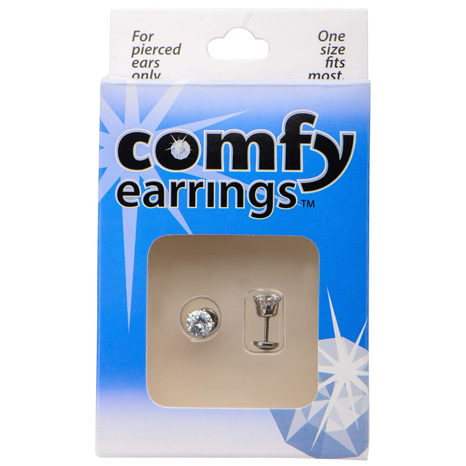 Amazon:fyearrings Cz 6mm Large Crystal Prong Stud Earrings Pair  Withfortable Flat Back: Jewelry