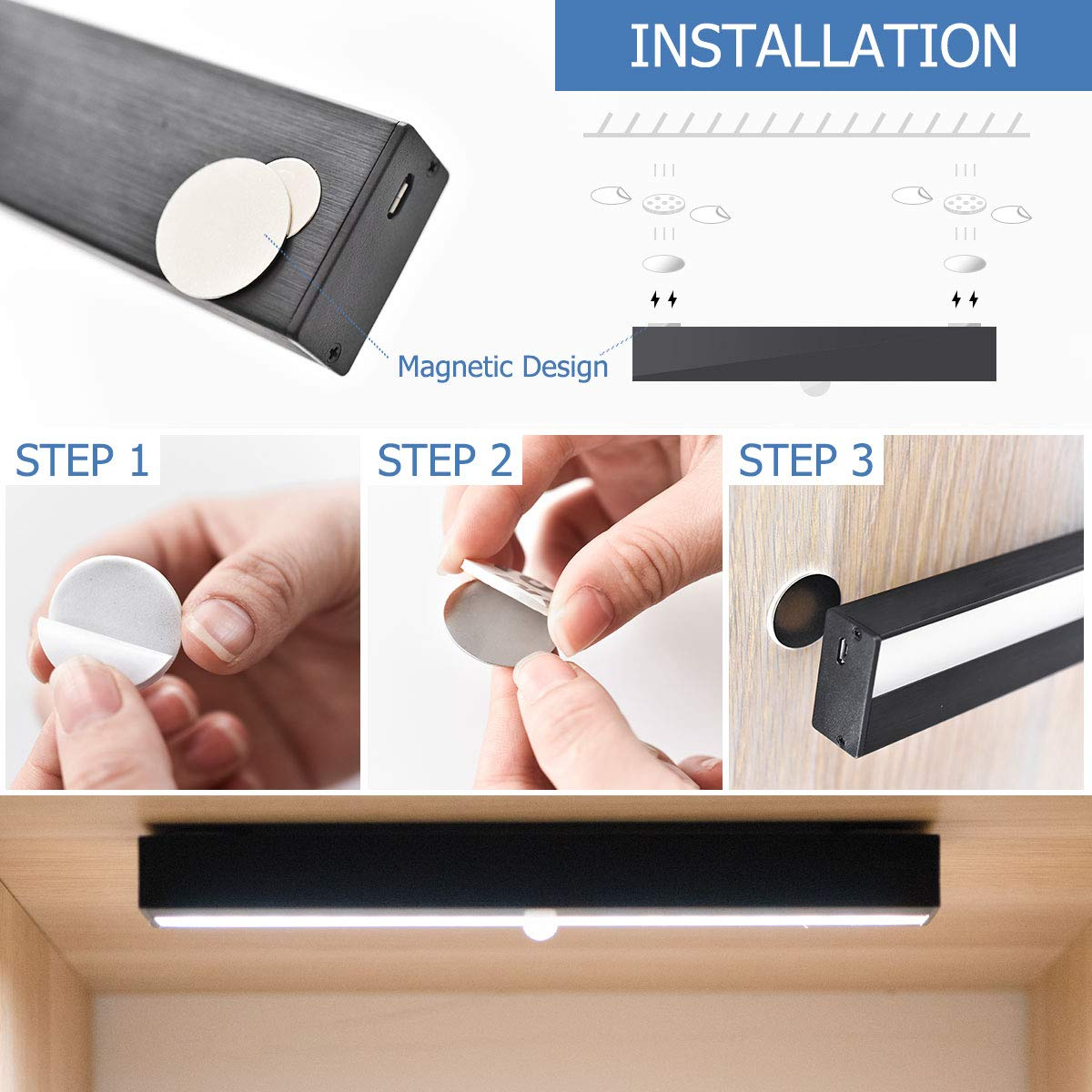 Stairs for Closet Bulit-in Rechargable Battery Hallway Cabinet Kitchen YouSheng Wireless Motion Sensor Light Magnetic Led Light Strip Super Bright Portable Cabinet Light with 18 LEDs