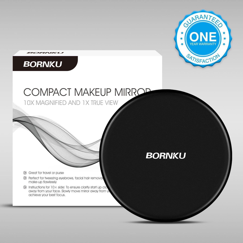 Noir Mat Bornku Miroir de Poche B10 Miroir Grossissant Maquillage Compact Double Sided 1x//10x