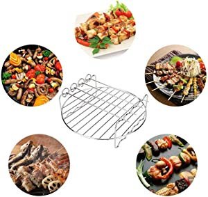Air fryer Rack, Multi-purpose Double Layer Stainless Steel Rack with 4 Skewers, Round Rack for Cooking Steaming Cooling Drying Baking Dehydrator Rack Silver