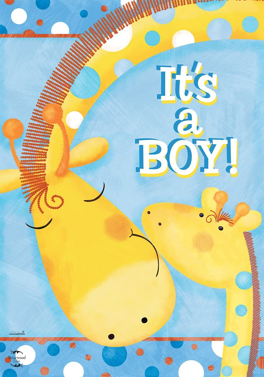 "Briarwood Lane It's A Boy Garden Flag Baby Shower Giraffes Welcome 12.5""x18"""