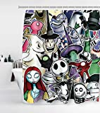 Nightmare Before Christmas Shower Curtain with 12 Hooks Jack Skellington Halloween Decor Waterproof Washable and Durable…