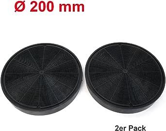 Pack de 2 universal Longlife filtro de carbón activo 20 cm de diámetro adecuado para muchos Campana extractora del Horno como AEG, Bosch, Electrolux, IKEA, Juno y Zanussi Color Negro: Amazon.es: Grandes