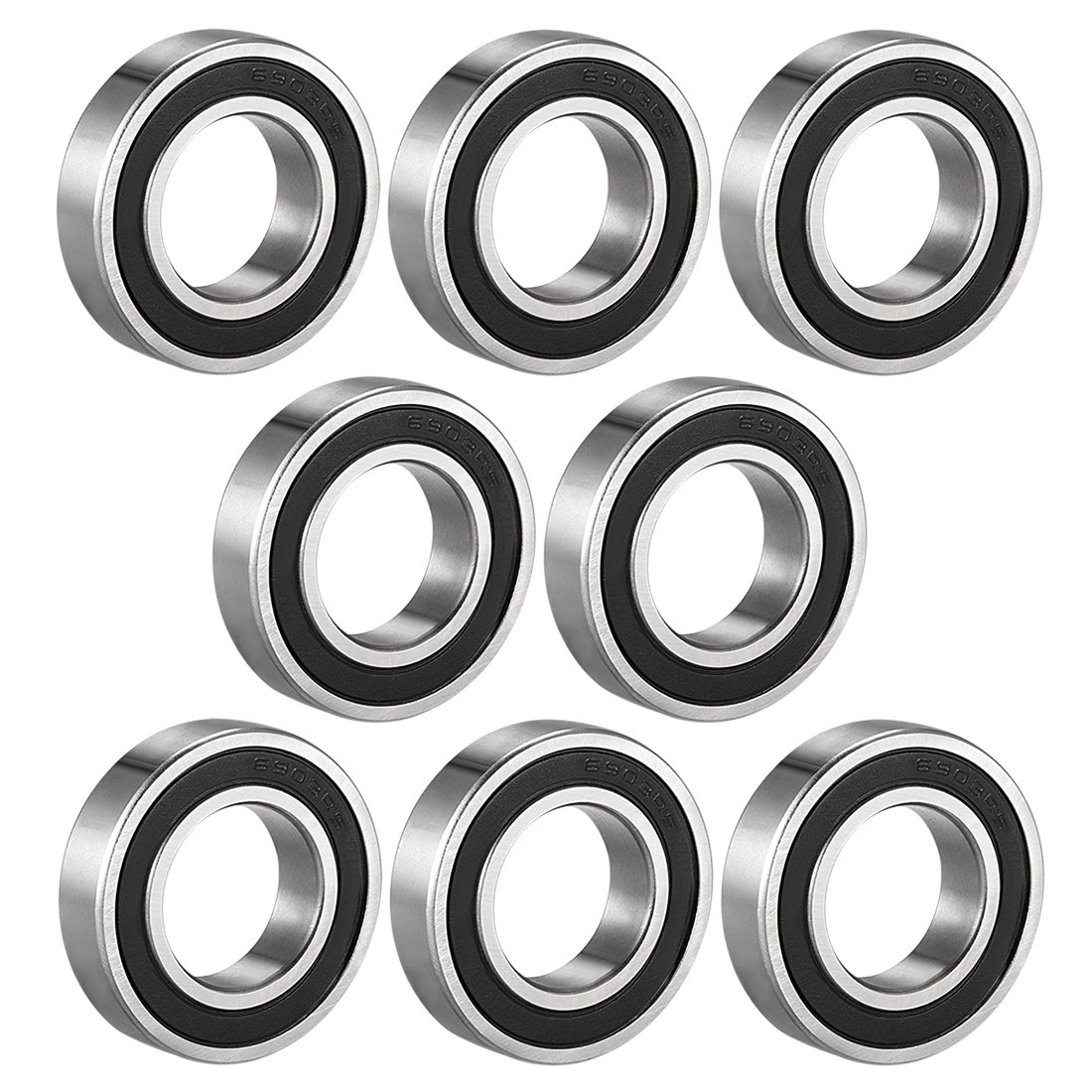 sourcing map 6903-2RS Deep Groove Ball Bearing Double Sealed 1180903, 17mm x 30mm x 7mm Carbon Steel Bearings (Pack of 8)