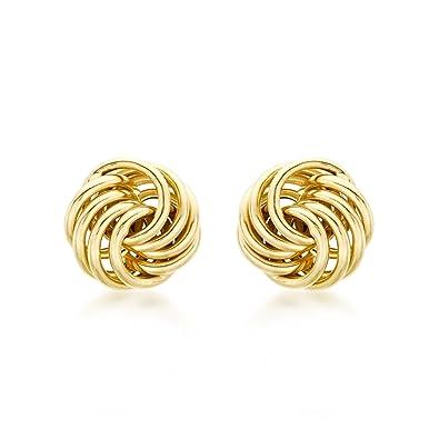 Carissima Gold Women's 9 ct Yellow Gold Mini Rose Stud Earrings azHLs3
