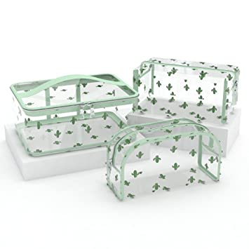 850524559913 Clear Cosmetic Makeup Bag - Transparent Cactus Make Up Bags Organizer  Waterproof Travel Pouches...