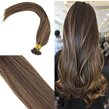 Youngsee Remy Straight Keratin Fusion U Tip Ombre Hair Extensions Human Hair Darkest Brown With