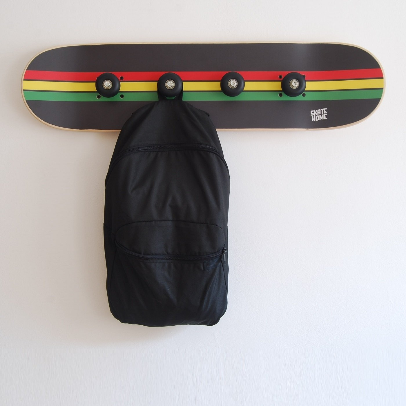 Skateboard bearings on Skate deck coat rack - Decoration boys room - Rasta