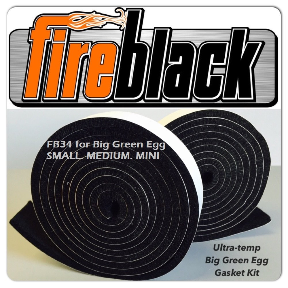 FireBlack34 for Big Green Egg SMALL MEDIUM & MINI 3/4 x 1/8 Black Hi Temp BBQ smoker Gasket 15 ft