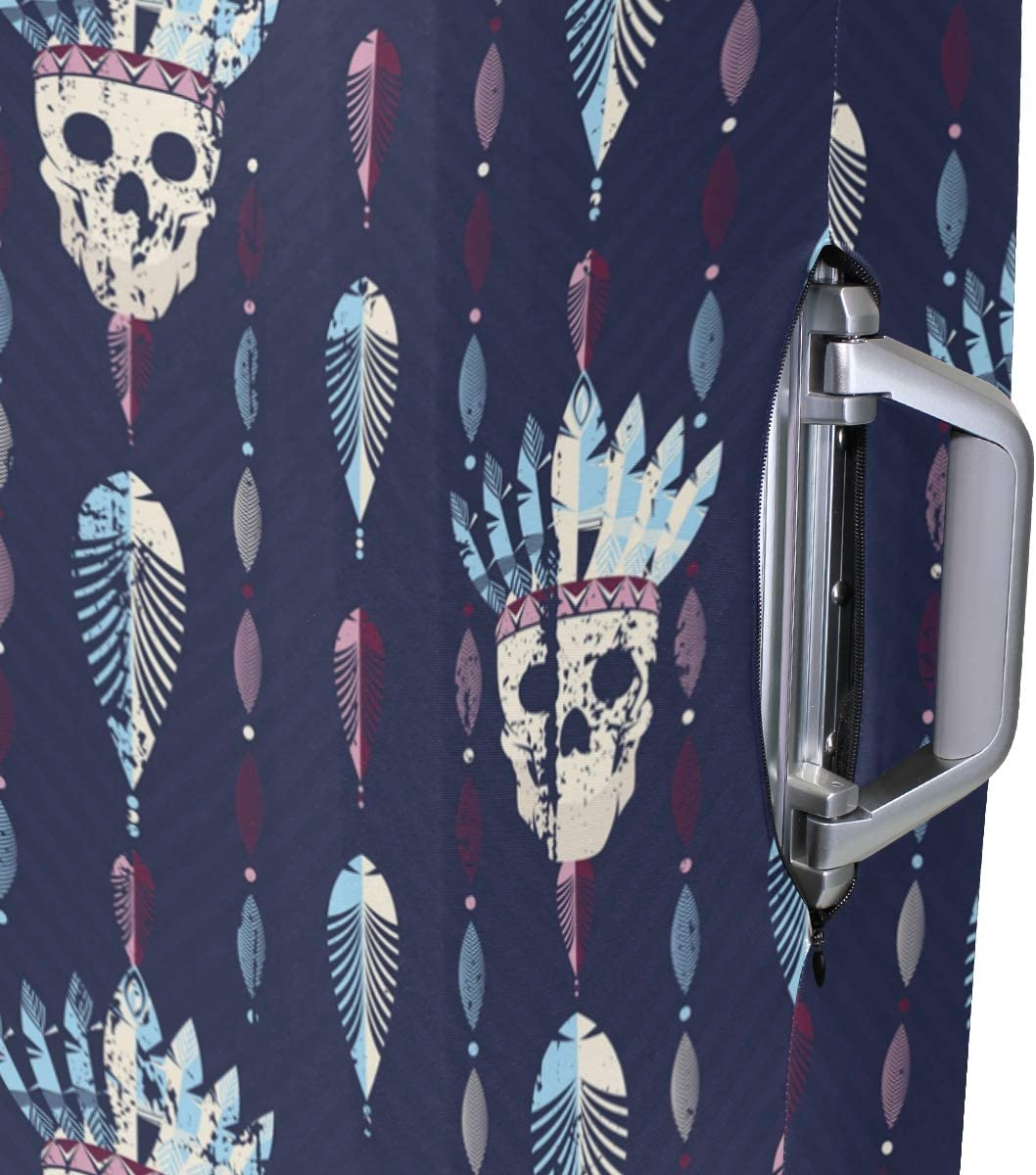 Travel Luggage Cover Boho Pattern Skull Head Feathers Suitcase Protector