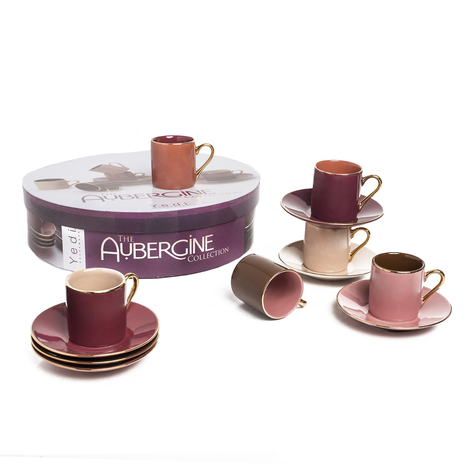 Set of 6 by Yedi Houseware Premium Quality Porcelain In Stylish Espresso Coffee Cups with Matching Saucers Siena Colors for the Perfect Italian Espresso Experience Stunning Hostess Gift Idea 2 /½ oz CC335