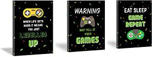 HPNIUB Video Game Art Prints,Funny Quotes Painting Set of 3 Pieces (11.8x15.6inch) Canvas Gamer Gaming Inspirational Poster with Framed Ready to Hang for Boys Bedroom Game Room Playroom Decor